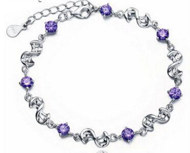 925 стерлингового серебра Аметист родий браслет для женщин Бесплатная доставка горячий продавать корейский серебряные ювелирные изделия оптом