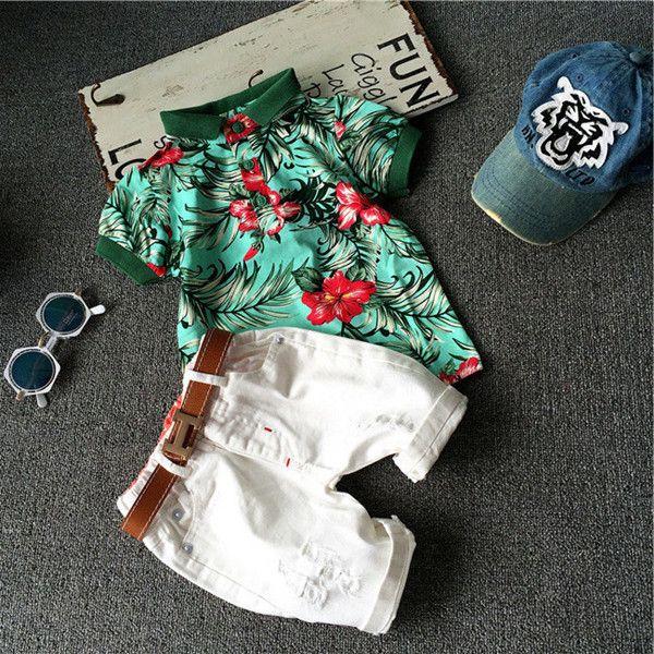 Crianças Roupas de Verão de manga curta T-shirt + calças rasgadas de algodão crianças moda flor folha de impressão ternos de verão menino roupas de praia 1-7 T