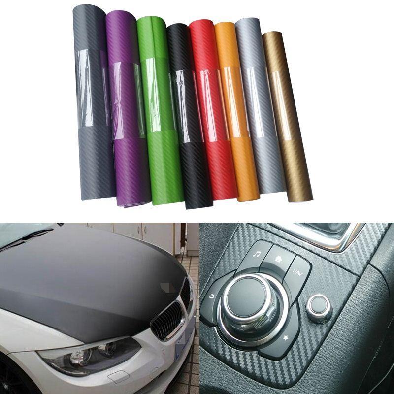 Araba Styling Aksesuar Için 127 * 30 cm Karbon Fiber Vinil Film Oto Motosiklet araba-vw renault opel mazda 6 Için Karbon Sticker kapakları 6