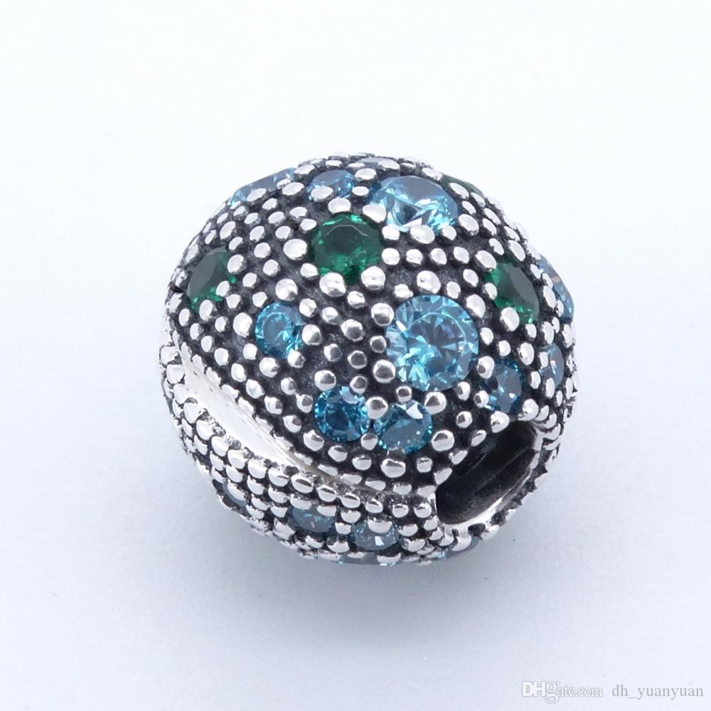 Cosmic Stars, Multi-Colored Crystals & Teal CZ Clip 2017 Summer 925 Sterling Silver Bead Fit Pandora Bracelet Authentic Charm