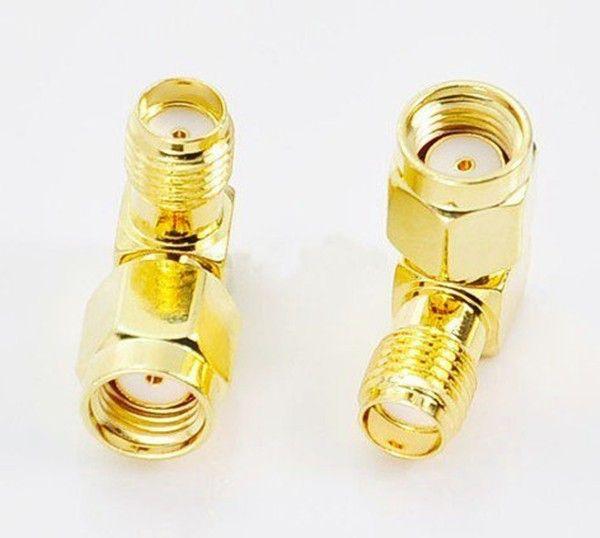 100pcs الكثير freeshipping الذهب RP-SMA ذكر إلى sma أنثى التوصيل زاوية الحق 90 درجة rf موصلات في سلسلة rf محول جاك