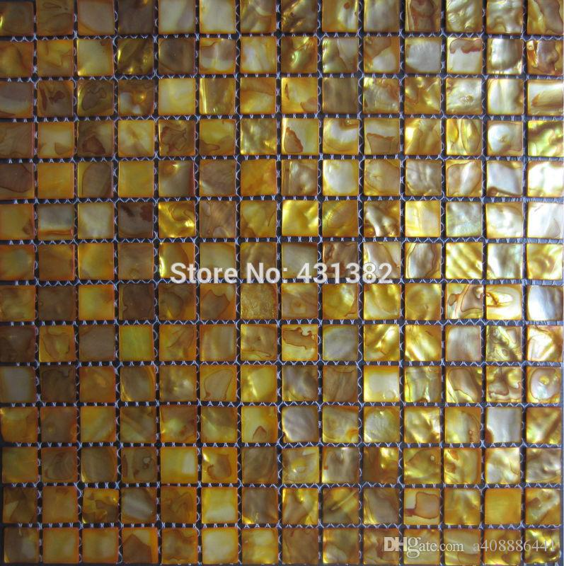 Factory Special offer;Free shipping mosaic tile gold Shell Mosaic Mother of Pearl Tile Bathroom Wall Kitchen Backsplash