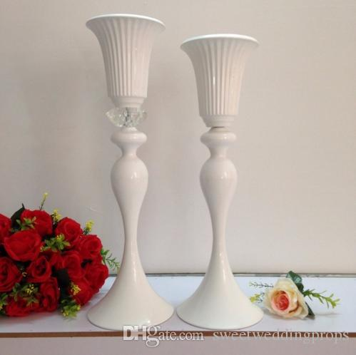 Beyaz Düğün Masa Centerpiece, Çiçek Standı, kristal ile 55 cm (H) Ziyafet Çiçek Vazo, Düğün Dekorasyon, Masa Centerpiece