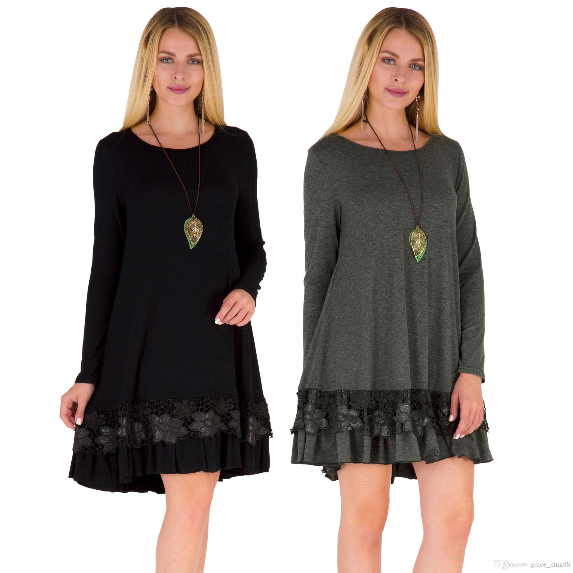 New Arrived Autumn Winter Women\'S Plus Size Dress Long Sleeve Loose Cotton  Casual Loose Dress Embroidery T Shirt Dress Sequin Dress Going Out Dresses  ...