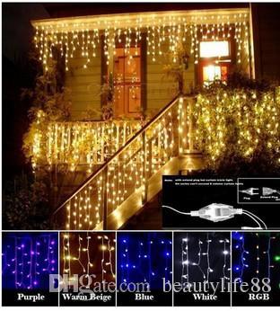 96led أدى الستار ضوء 3.5 متر droop 0.5 متر الستار جليد سلسلة الأنوار 220 فولت السنة الجديدة عيد الميلاد حفل زفاف الديكور مصباح