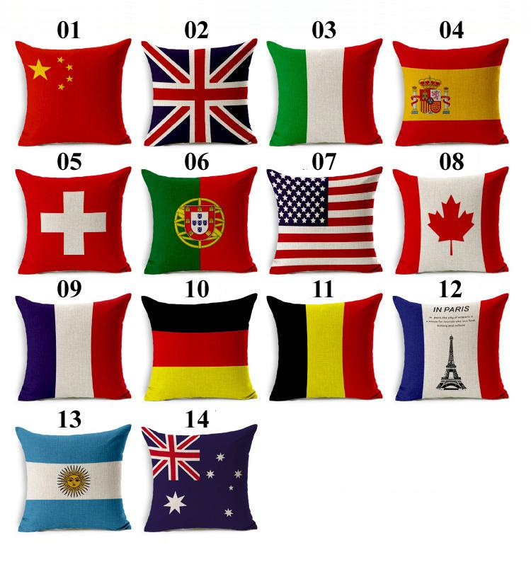 국기 쿠션 커버 미국 영국 캐나다 프랑스 깃발 베개 케이스 홈 오피스 Decors 고품질의 아름다운 베개 커버 DHL