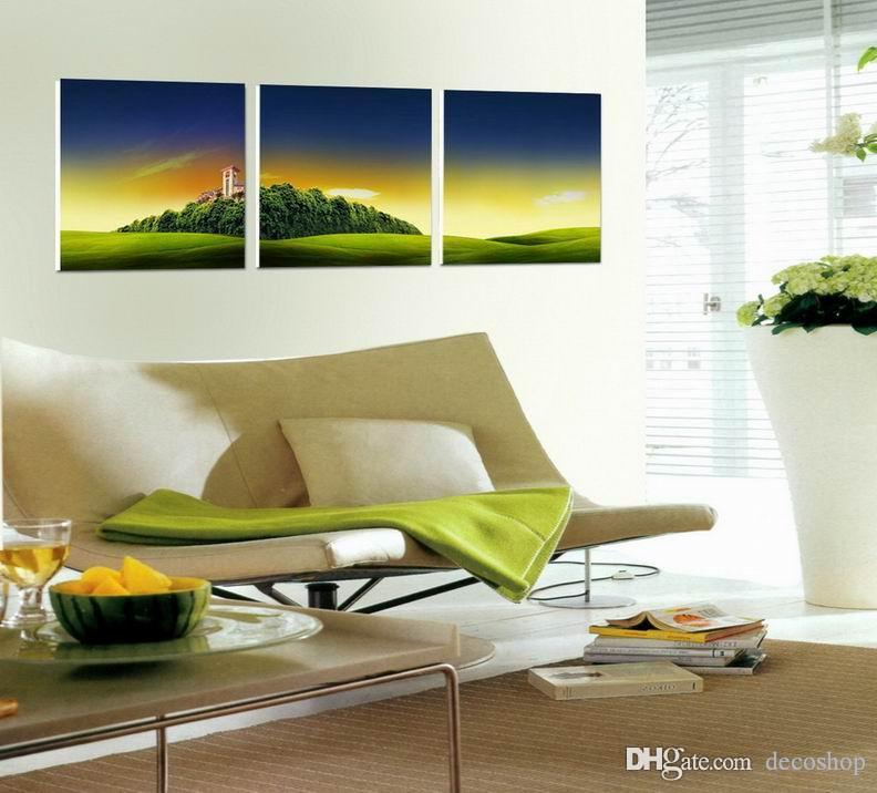 Moderna Bela Paisagem Pôr Do Sol Imagem Giclee Impressão Na Lona Home Decor Wall Art Set30324