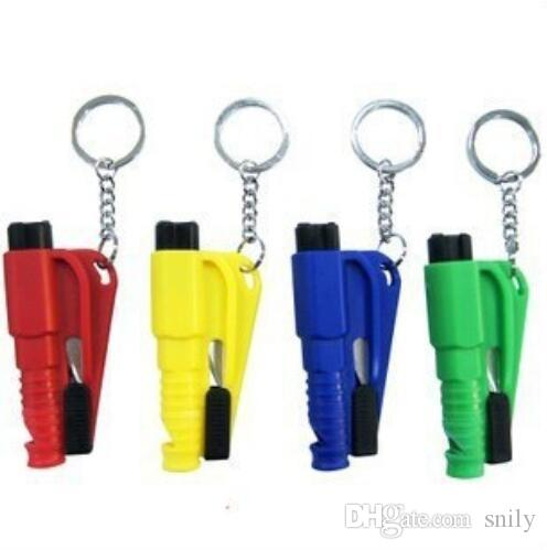Mini 3 in 1 Seatbelt Cutter Emergency Hammer Glass Breaker Key Chain Smart AUTO rescue tool Safety Escape Lift Save SOS Whistle