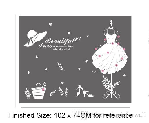 White Beautiful Dress Wall Quote Decal Stickers Dress Hat Heels Words Glass Window Decoration Wall Applique Fashion Clothes Wall Poster Flower Wall