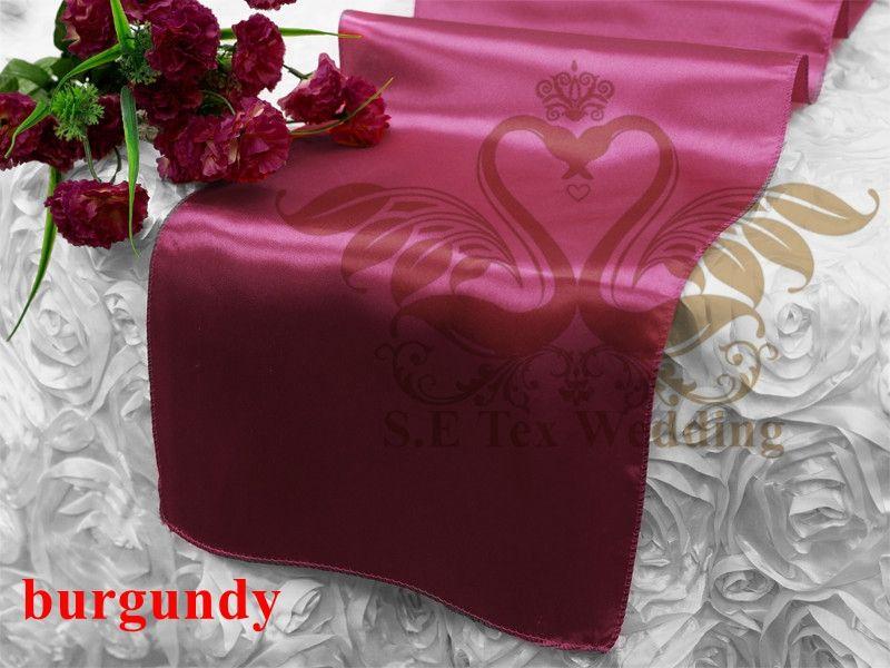Vente chaude Bourgogne Couleur satin Runner Table Cloth Banquet de mariage Runner