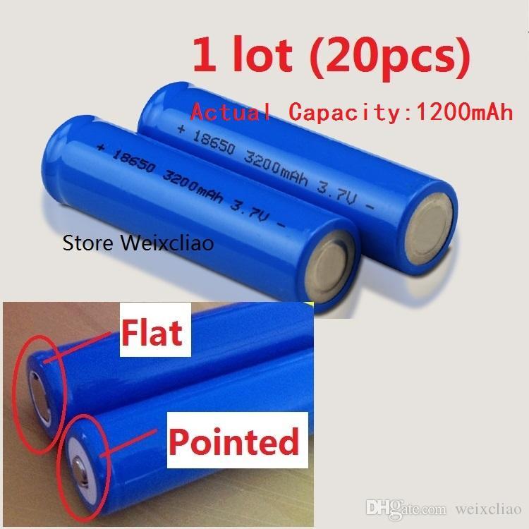 20 قطع 1 وحدة 18650 3.7 فولت 1200 مللي أمبير بطارية ليثيوم أيون قابلة 3.7 فولت بطاريات ليثيوم أيون لوحة لوحة مسطحة أو مدببة مجانية