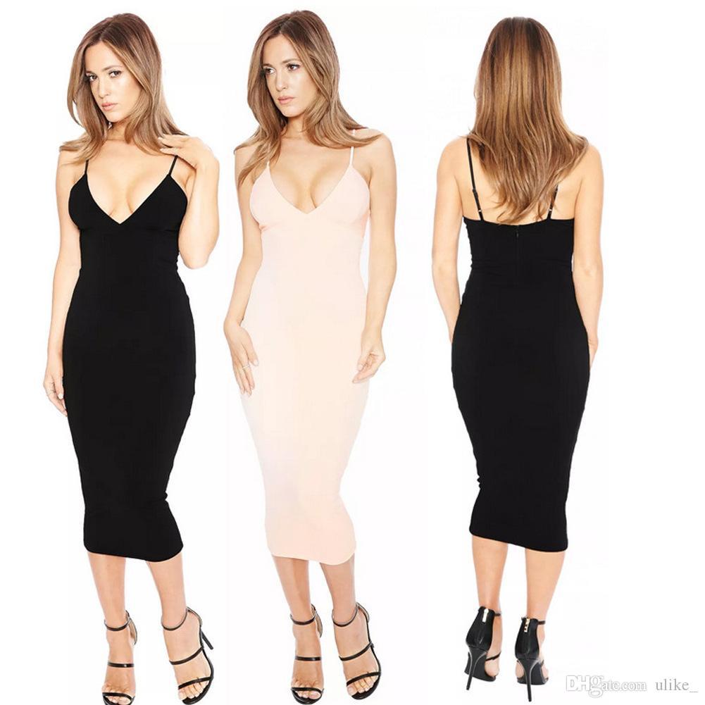 3 colori Europa e Stati Uniti sexy sottile elastico profondo scollo a V cinghie vestito stretto vestito sexy discoteca vestito