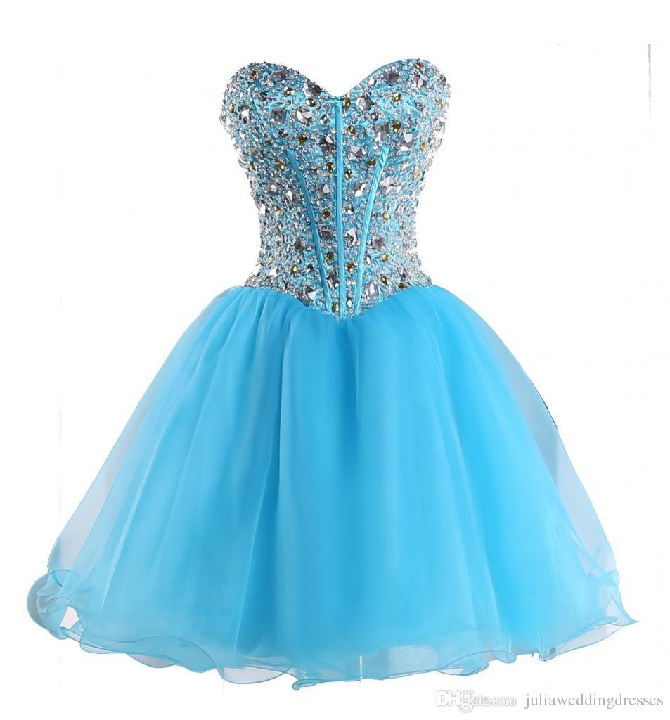 New Sexy Sweetheart Blue Back Short Homecoming Dresses 2016 Organza Beaded Crystal Lace Up Prom Cocktail Graduation Gown Q40