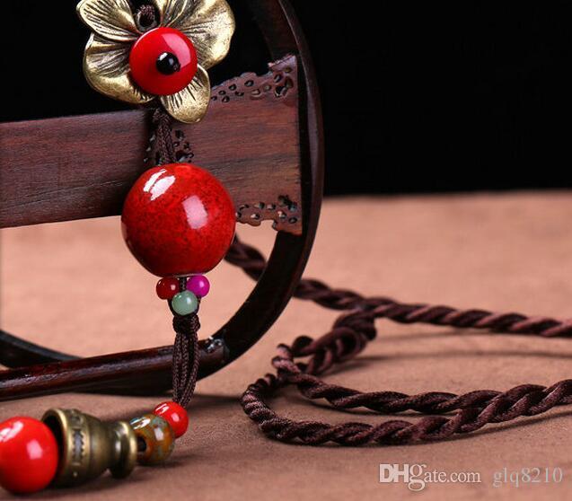 perles glands fleur vintage collier pendentif Simulations pierres précieuses pull à longues chaînes femmes élégantes à la main Bijoux Nouvelle arrivée 12pcs / lot