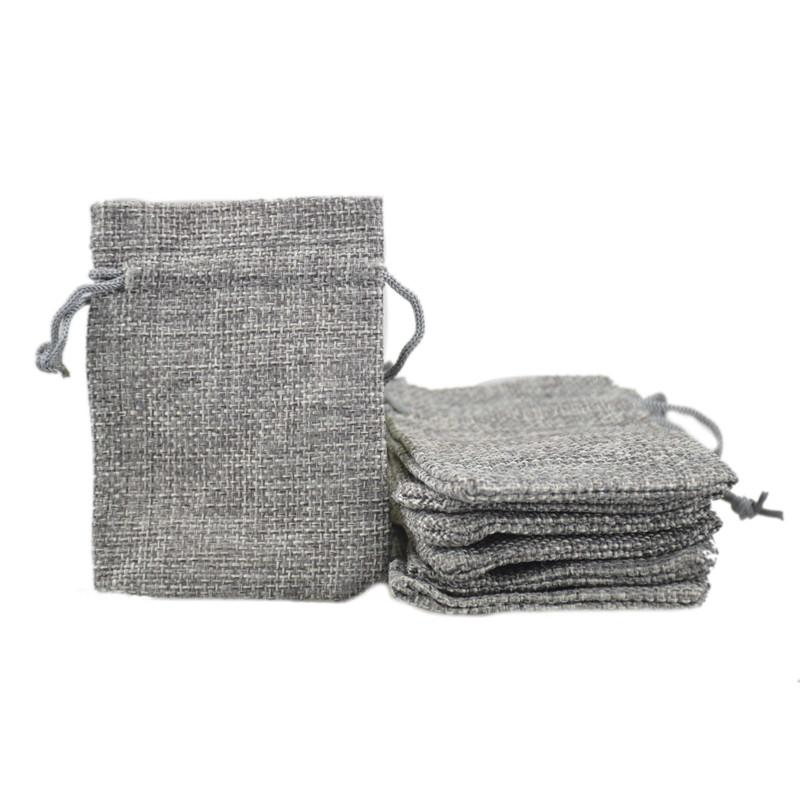 7x9 cm Custom Barato Faux Jute Drawstring Jewelry Bags Candy Beads Bolsas de arpillera en blanco de lino de tela de regalo bolsas de embalaje