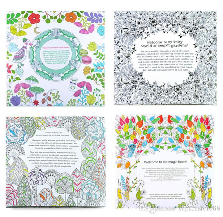 4 Design 24 Pages Inky Coloring Drawing Books Secret Garden Enchanted Forest Fantasy Dream Children Adult