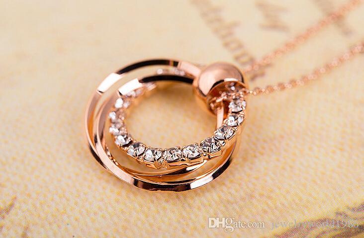 Rapide Livraison Gratuite Fine mariage Bijoux Rose collier en or clavicule mode simple cristal diamant pendentif circulaire