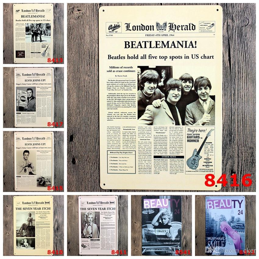 Superstars estilo poster Beatle Elvis clássico Coffee Shop Bar Restaurante Arte Da Parede decoração Bar Metal Pinturas 20x30 cm sinal de lata 10 pçs / lote