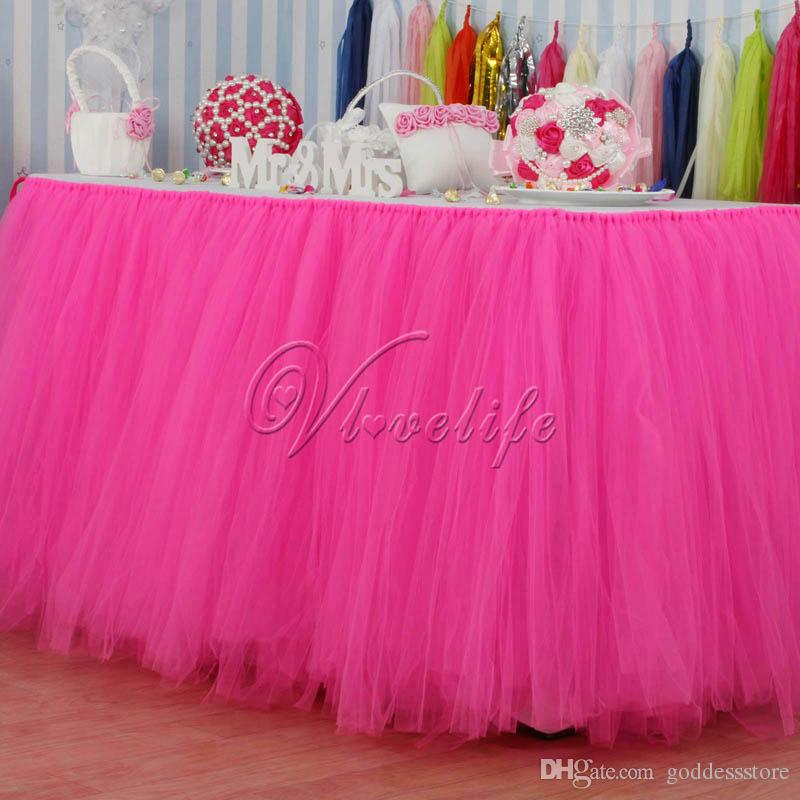 100cm X 80cm Hot Pink Tulle Tutu Table Skirt Skirting Tableware Wedding Birthday Baby
