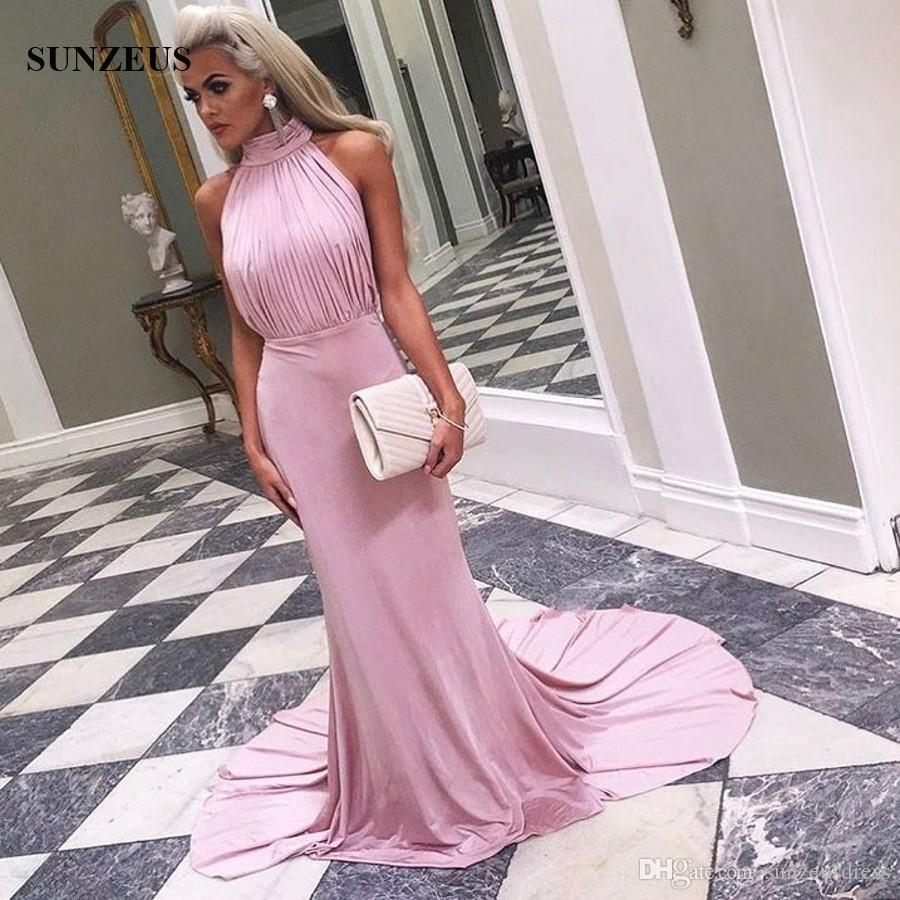 Sheath Fitted Pink Long Prom Gowns High Neck Backless Party Dresses Pleated Top Sweep Train Jersey Special Occasion Dress