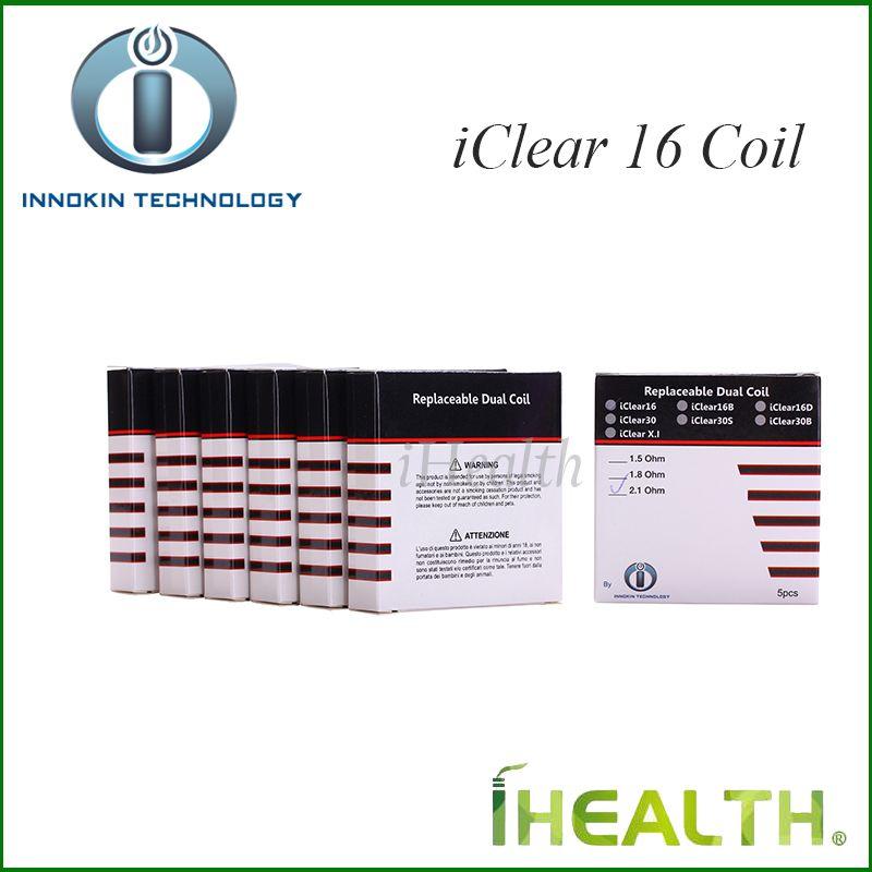 Reemplazo Innokin iClear 16 doble bobina Dual calentamiento de la bobina Head para iClear 16 Clearomizer original del 100% 1.5ohm 2.1ohm 1.8ohm
