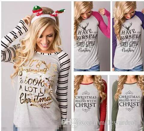 Women Christmas Long Sleeved Tshirts Letters Printed Elk Striped Colors Patchwork O-neck Bottoming Tops Fashion Tees