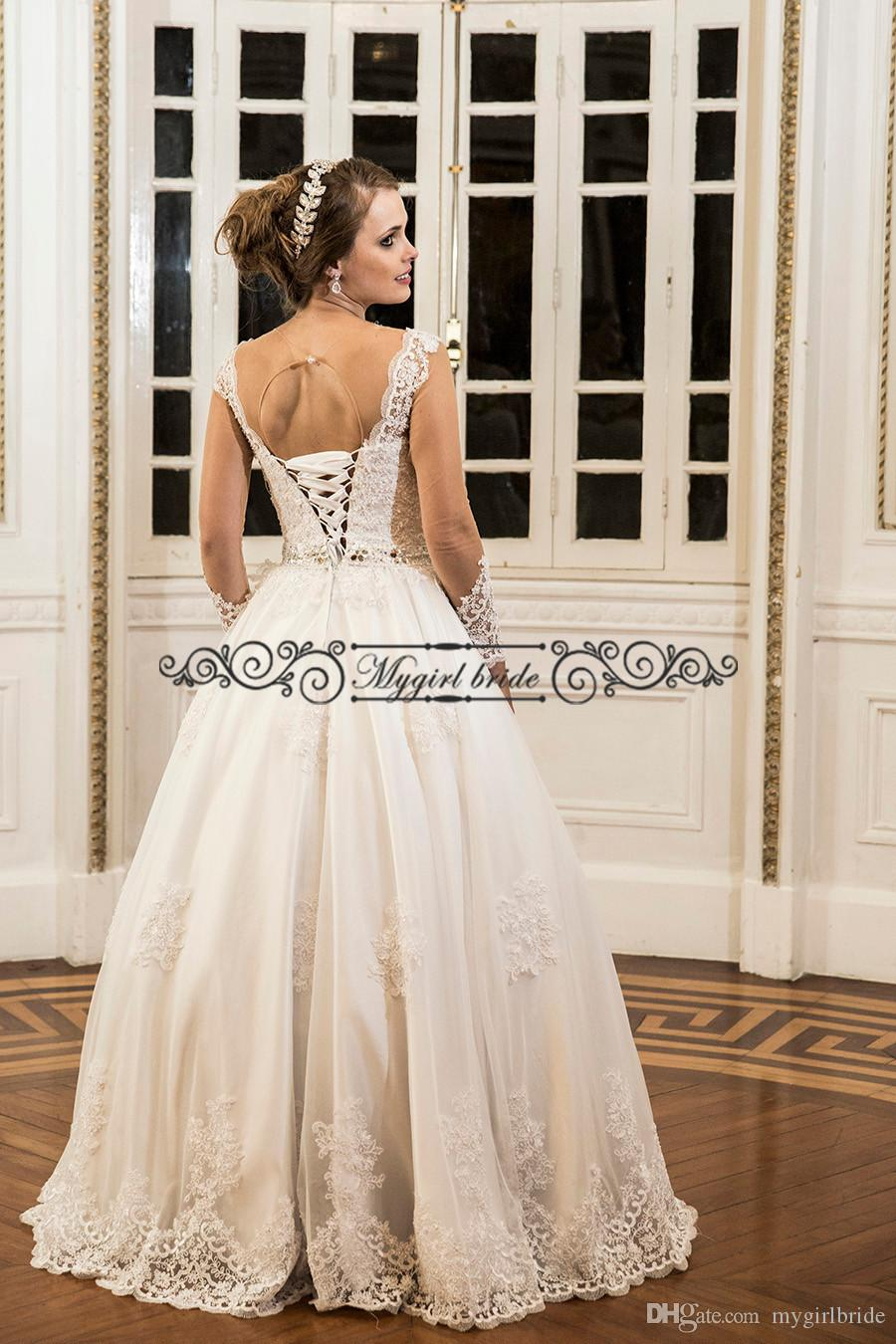 Ball Gown Ourtdoor Wedding Dresses White Long Sleeve Sheer Open Back ...