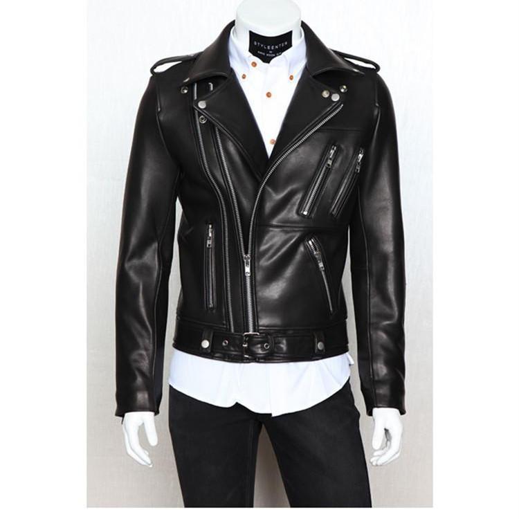 Vente en gros - Vêtements de moto en cuir pour hommes Casual flocage de vêtements pour hommes Veste en cuir pour hommes