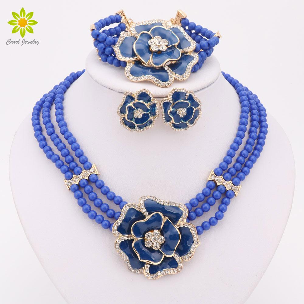African Bead Jewelry Sets Gold Plated Jewelry Big Flower Crystal Jewelry Sets Women Fashion Necklace Bracelet Earrings Sets