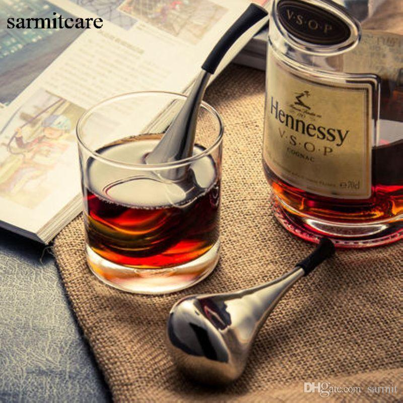 H002 - Uso de la barra casera Forma de cuchara Enfriador de vino inoxidable Whisky Piedras de hielo Cubitos de hielo de metal Enfriador de bebida Cubo de hielo de acero