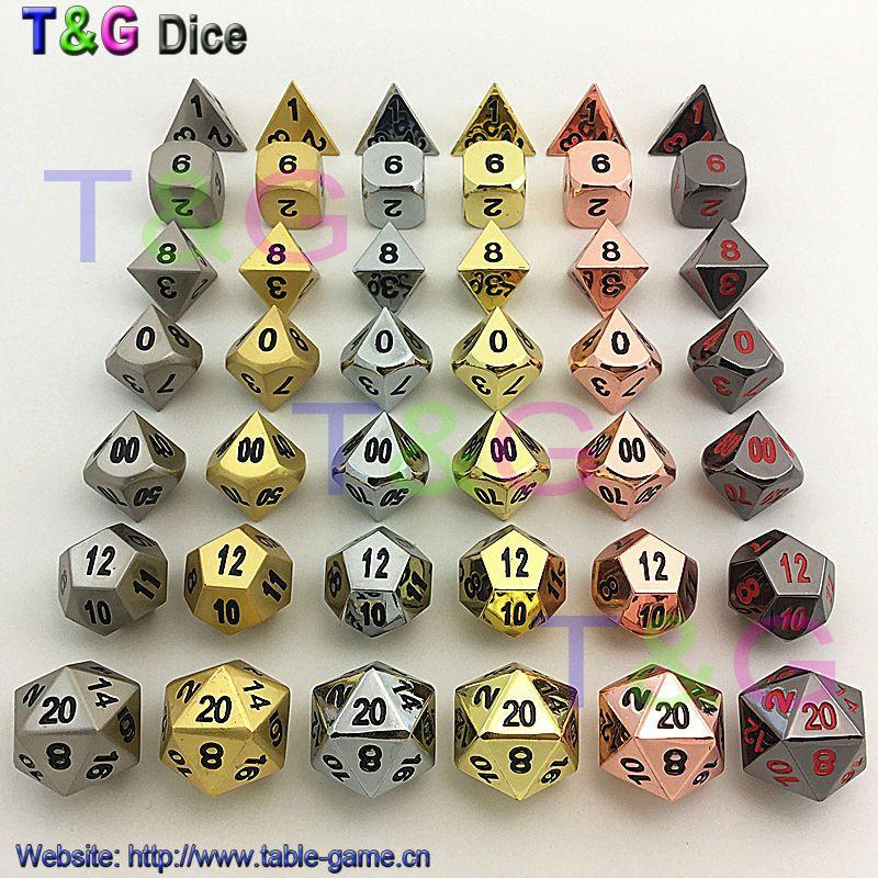 Высокое качество 6 комплектов металла многогранные цифровые кости для DD настольная игра d4 d6 d8 d10 d10% d12 d20