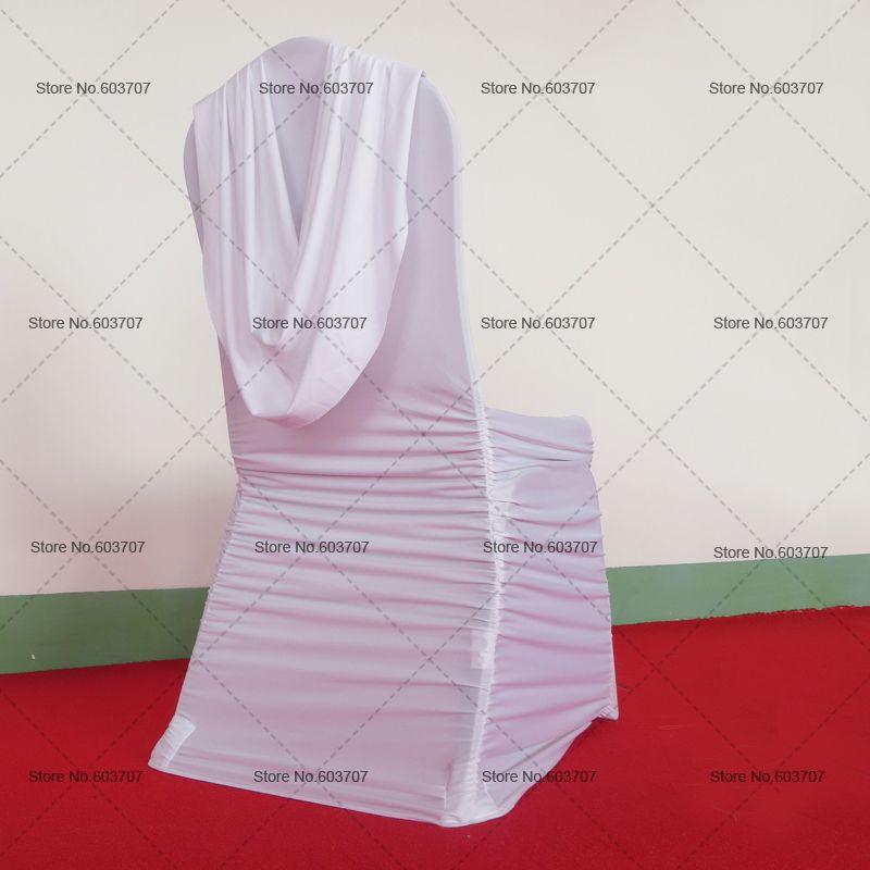 100 pcs Livraison Gratuite Blanc Froncé Rousse Couverture De Chaise avec cantonnière à l'arrière pour la décoration de mariage