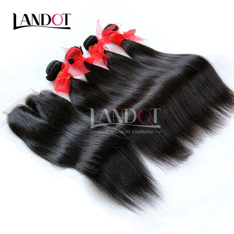 5Pcs Lot Cambodian Straight Virgin Hair With Lace Closure Unprocessed Remy Human Hair Weaves 4 Bundles And Closures Free/Middle/3 Way Part