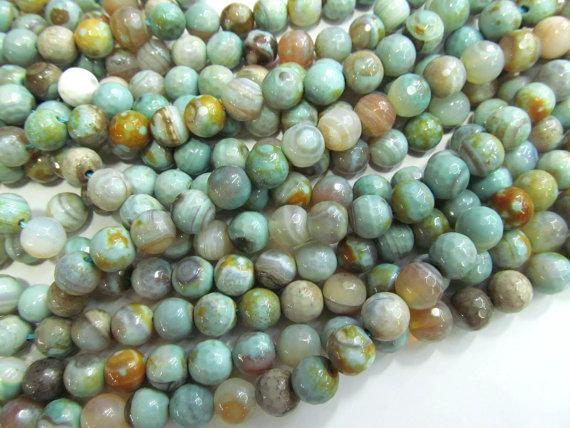 10MM GREEN AGATE GEMSTONE GREEN FACETED ROUND 10MM LOOSE BEADS 8/""