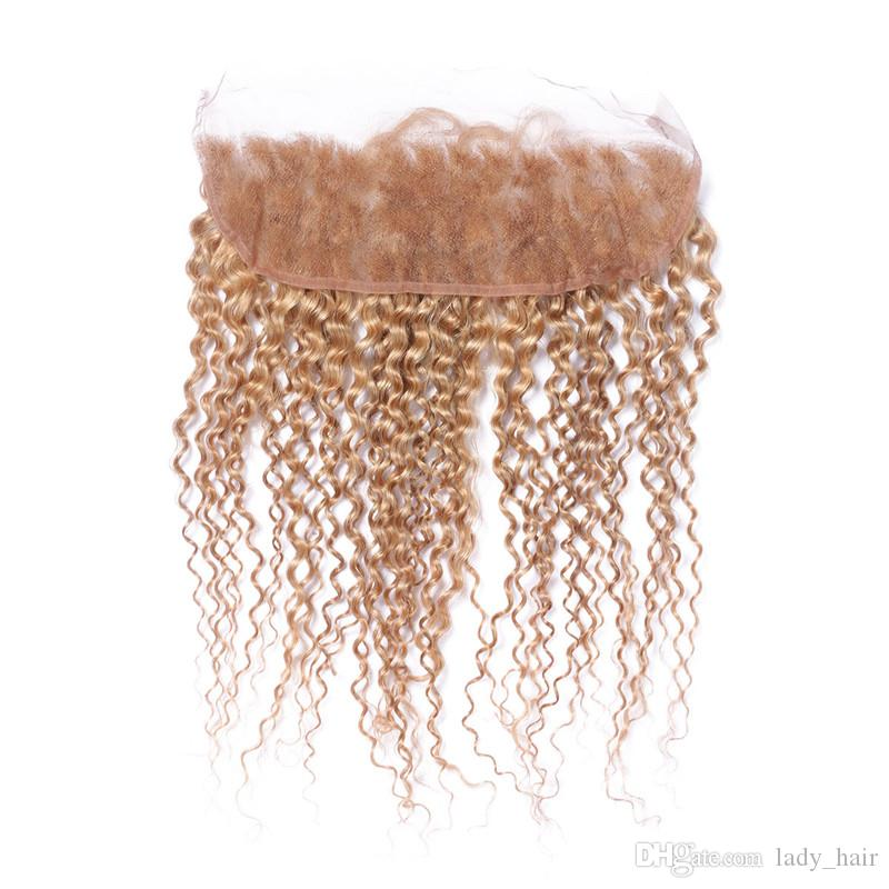 9A Malaysian Kinky Curly Honey Blonde 13x4 Lace Frontals # 27 Fraise Blonde Bouclés Ear to Ear Dentelle Frontale Fermeture Noeuds Blanchis