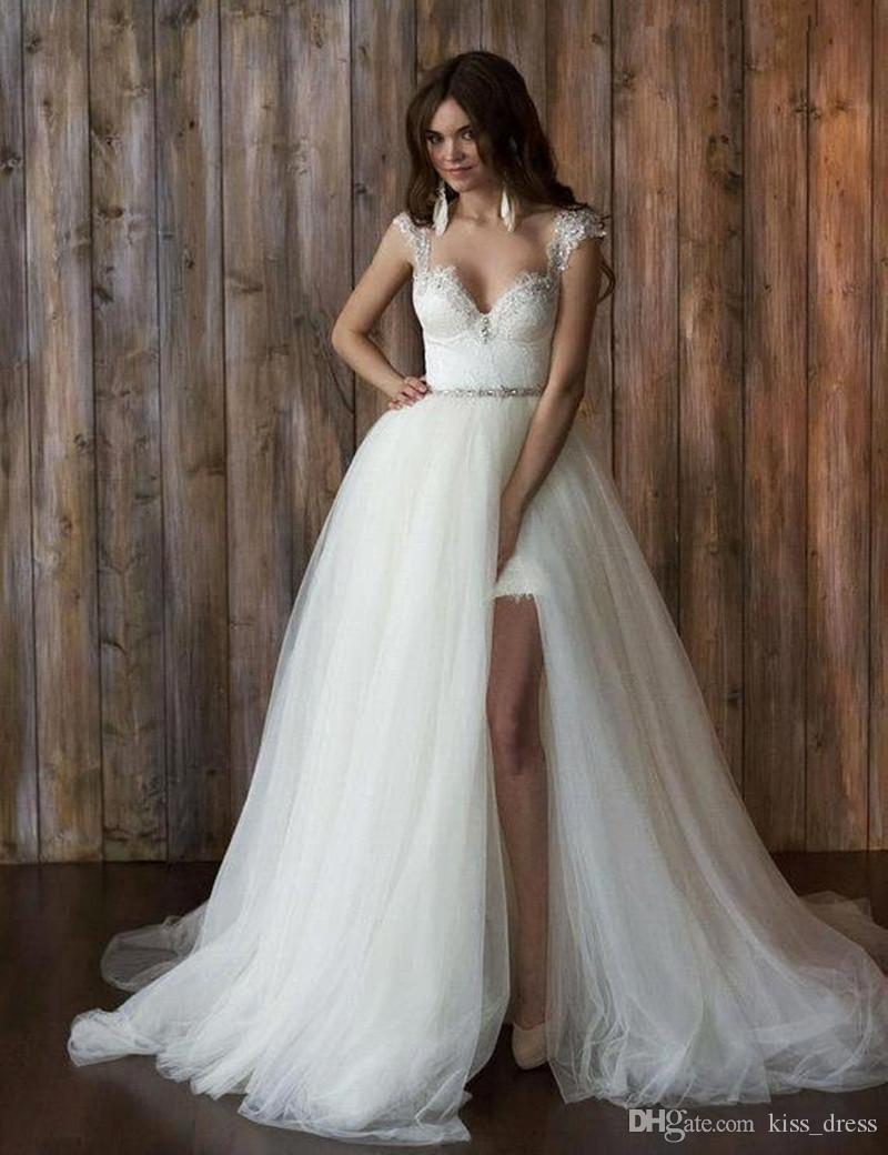 2 Pieces Detachable Train Wedding Dresses Backless Cap Sleeve Beaded Lace Tulle Removable Skirt Bridal Gowns Custom Made