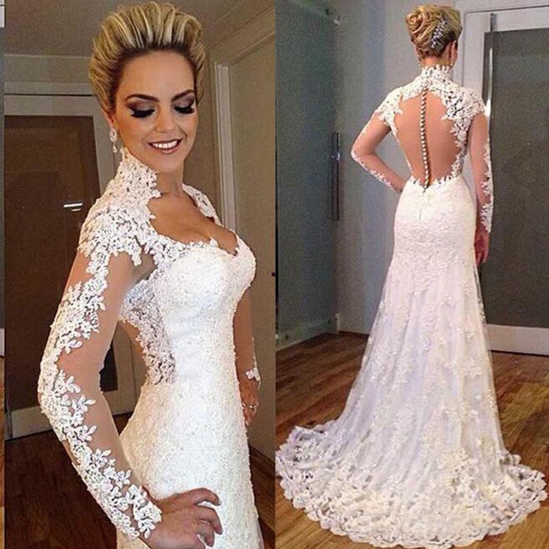 Arabe sirène robe de mariée vintage col haut col chérie pleine dentelle applique pure manches longues illusion retour robes de mariée balayer train