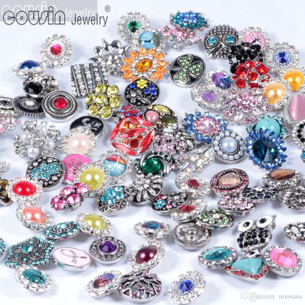 Hot wholesale 50pcs/lot High quality Mix Many styles 18mm Metal Snap Button Charm Rhinestone Styles Button DIY Ginger Snaps Button Jewelry
