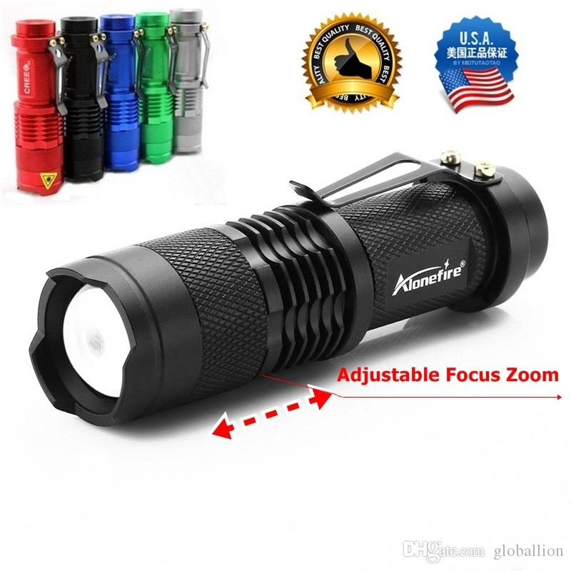 ALONEFIRE SK68 CREE XPE Q5 LED 3 mode Portable Zoomable Mini Flashlight torches Adjustable Focus tactical pen flash Light Lamp