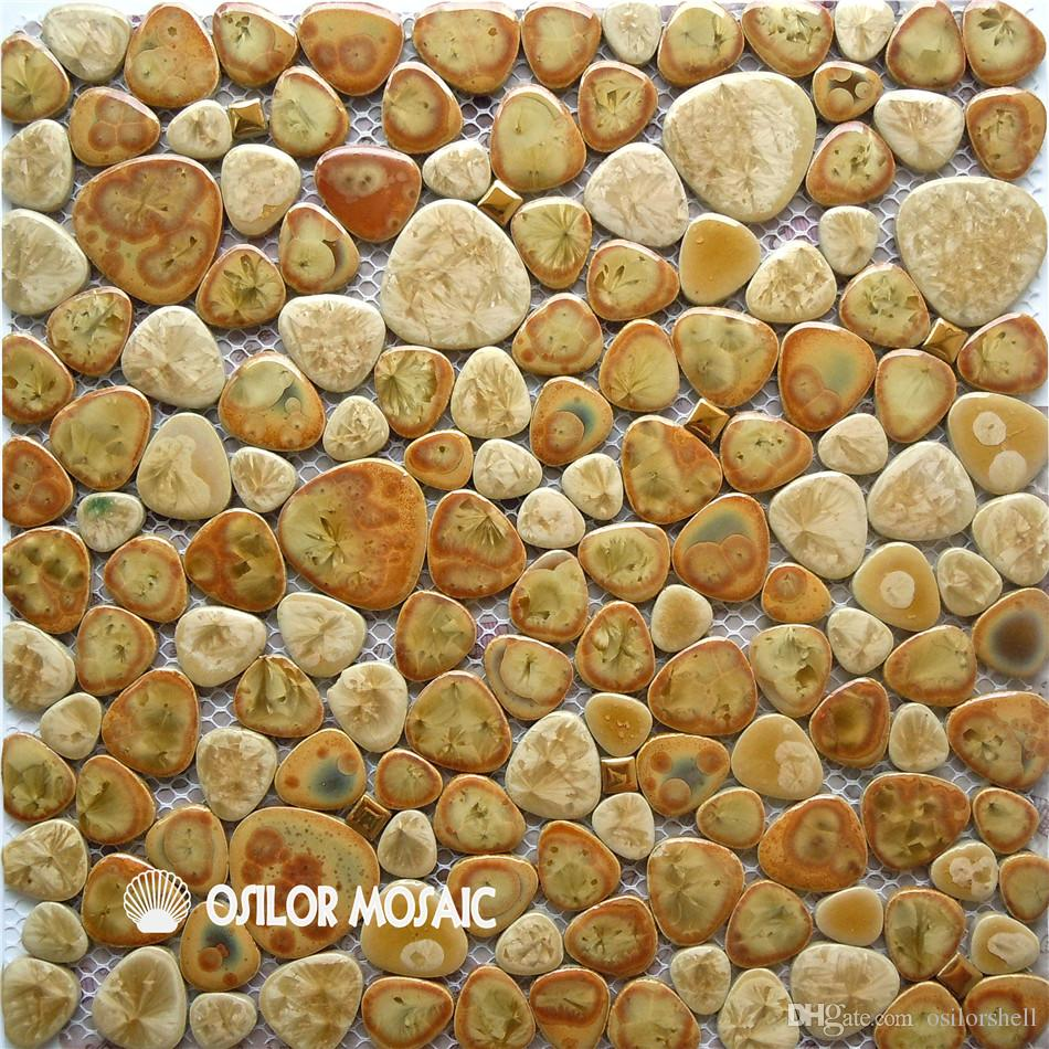 irregular pattern ceramic mosaic tile for bathroom and kitchen decoration wall tile floor tile 4 square meters per lot yellow color