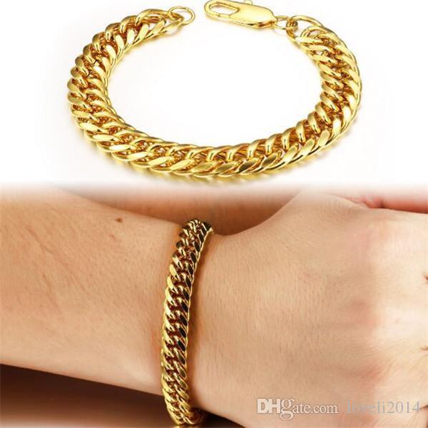 Vintage Man Bracelets 18K Real Gold Plated Cuban Chain Bracelet Attractive Men Jewelry Cheap Price, 946