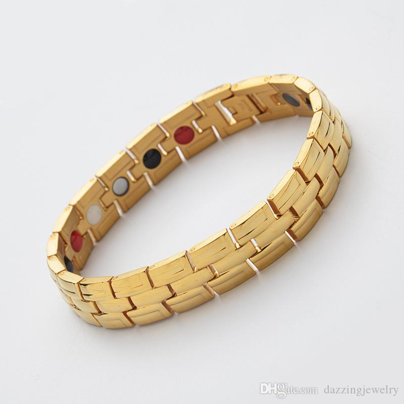Gold Black Silver Stainless Steel Titanium negative ion magnetic health benefit bracelet for men bio healing