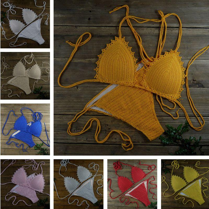 Handmade Women's Swimwear Feeler Crochet Bikini Set Lining swim trunks 13 Color Adjusted freely
