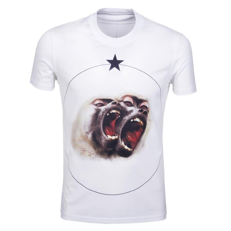 أزياء الصيف نمط جديد الرجال القميص القطن ستار 3d القرد الزى قصيرة الأكمام عارضة camiseta t قميص ماركة moneky بلايز