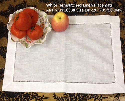 """Livraison gratuite Home Textiles 12pcs / lot 14x20 """"Nappe en lin blanc avec bords Hemstitched. Napperons parfaits"""
