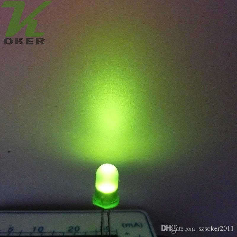 1000pcs 5mm 5mm verde diffuso lampada a led lampada a emissione diodo nebbioso nebbioso ultra brillante plug-in kit fai da te pratiche pratiche grandangolare