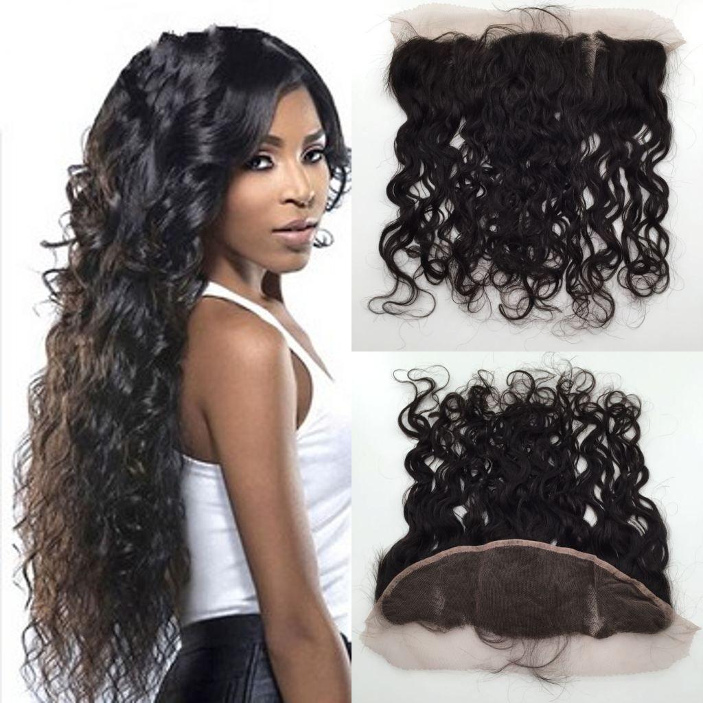 13x4 Lace Frontal Closures Indian Natural Wave Virgin Human Hair Cheap Lace Frontals Water Wave Closure