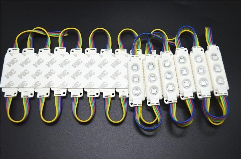 300pcs / lot 5050 RGB 3leds weiße Oberteileinspritzung führte geführtes Zeichen des Moduls 12V 0.75w RGB 2 Jahre Garantie