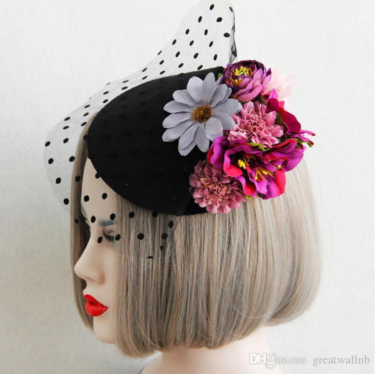 Kostenloser Versand schwarze Polka Blumen Spitze Vintage mittelalterliche Blume Spitze Haar Dekoration Bühne / Ballett / Leistung Kostüm Zubehör