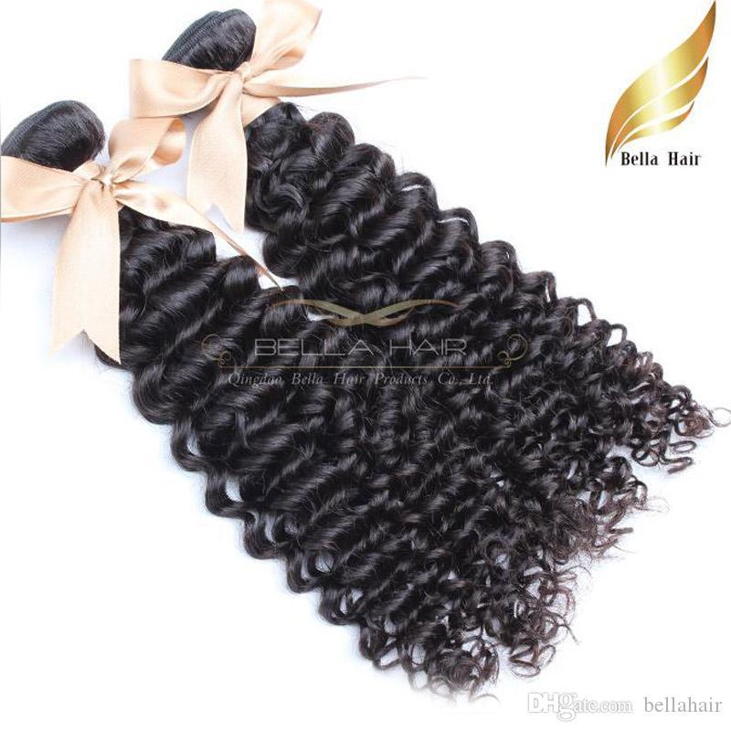 Malaysain الرخيص الشعر المجعد Kinky ينسج 100 ٪ الشعر البشري إمتدادات لون طبيعي أسود 2PC شحن Bellahair بالجملة